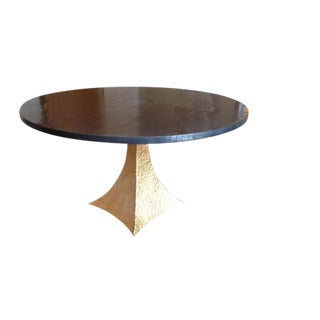Dining Table With Gold Hammered Iron Base & Zinc Top