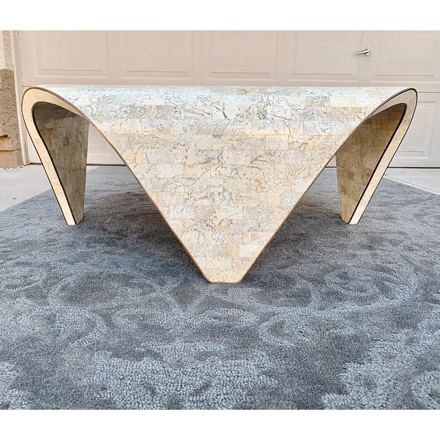 Hollywood Regency 1970s Vintage Sculptured Tesselated Stone Coffee Table by Maitland-Smith For Sale - Image 3 of 9