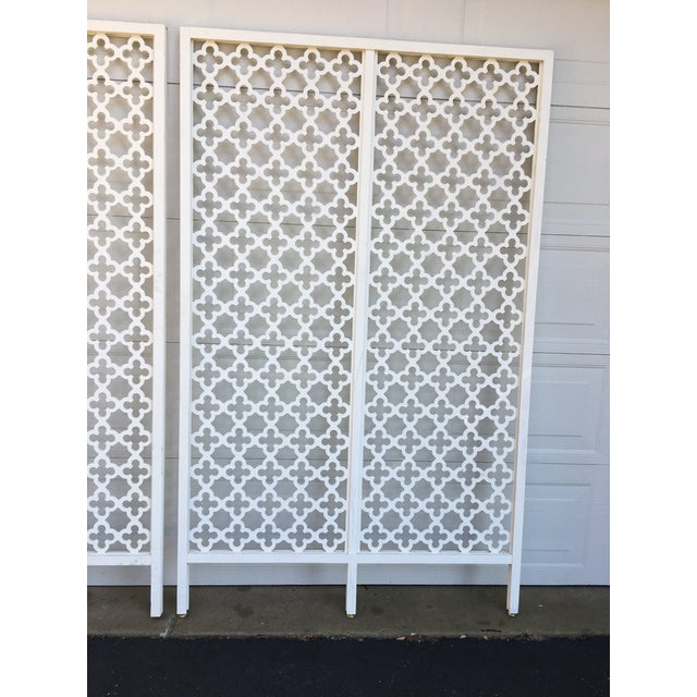 Killer Mid Century Modern geometric room dividers . Made of wood , no breaks in pattern . Keep as is or paint some magical...