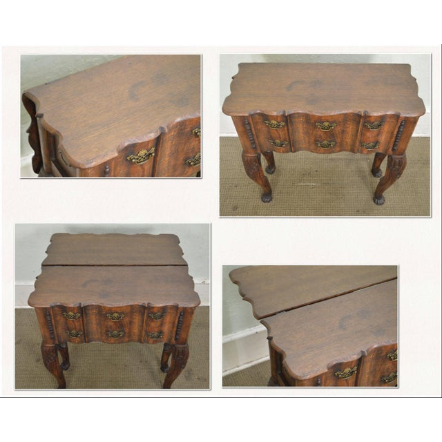 Georgian Style Antique 19th Century English Oak Dropleaf Narrow Console Table For Sale - Image 5 of 11