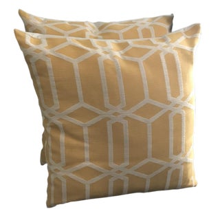 "24"" Canary Yellow and White Geometric Cotton Pillows With Inserts - a Pair For Sale"