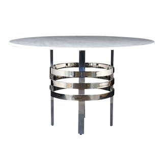 Mid-Century Modern Chrome and Marble Dining Table For Sale