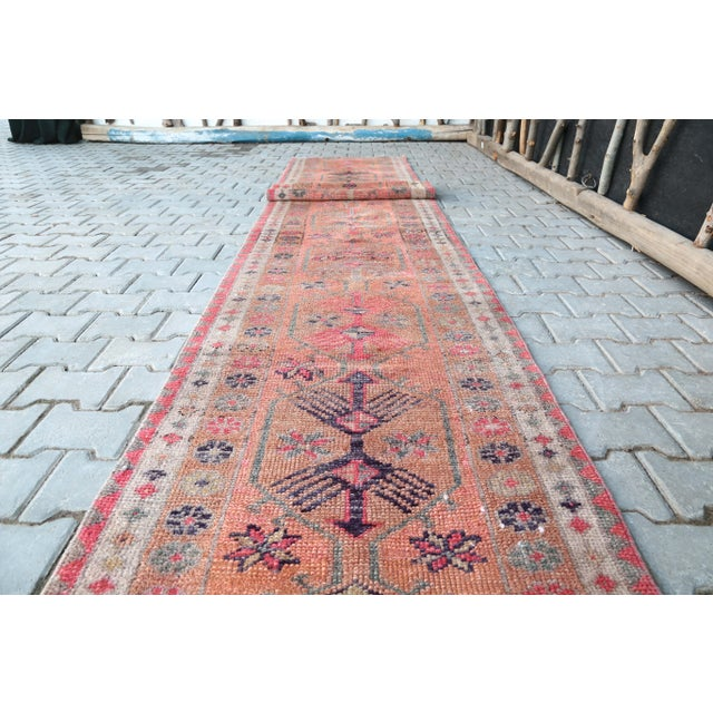 Farmhouse 1960's Vintage Turkish Hand-Knotted Long Runner-2′9″ × 15′1″ For Sale - Image 3 of 11