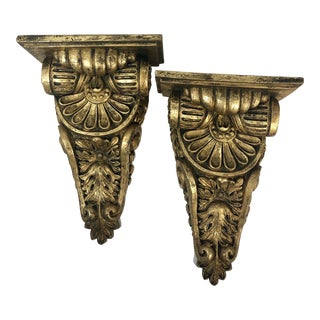 Mid 20th Century Vintage Hollywood Regency Brackets Wood Composite Wall Sconces - a Pair For Sale