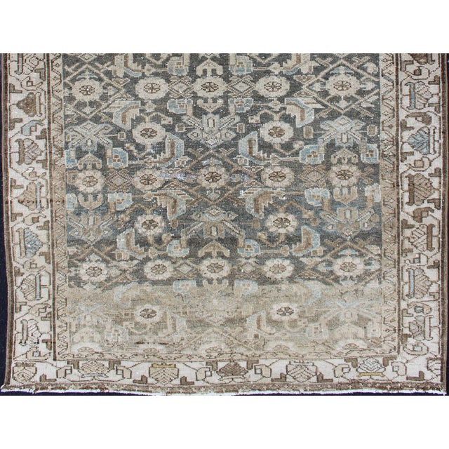 Earthy Tone Vintage Persian Hamadan Rug With All-Over Pattern For Sale In Atlanta - Image 6 of 12