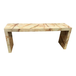 1970s Mid Century Modern Faux Marble Console Table For Sale