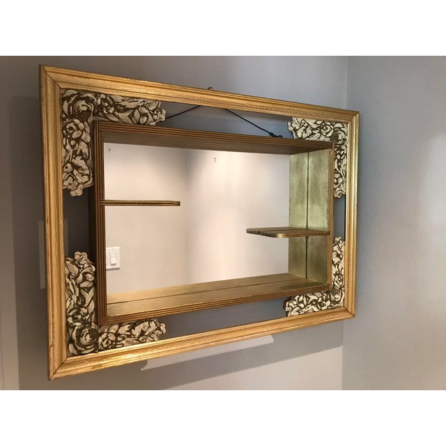 Fantastic, wooden Mid-century Modern shadow box mirror with carved, cream colored roses. The shadow box itself is in...