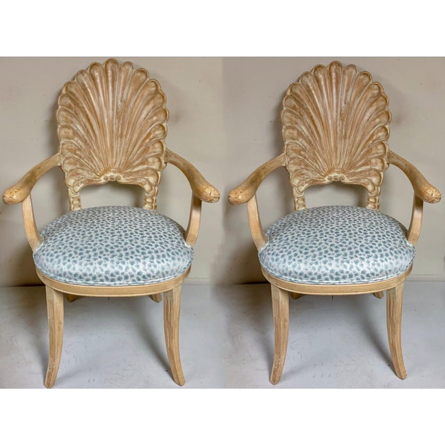 Pair of Shell Backed Chairs in Leopard Upholstery For Sale - Image 9 of 12