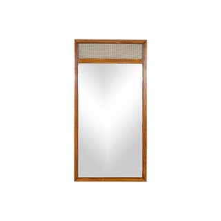 1960s Walnut & Metal Mesh Mirror