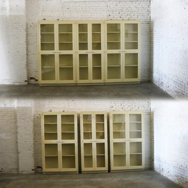 Industrial Metal 36 Inch Wide Display Cabinet or Bookcase With Glass Doors For Sale - Image 12 of 13