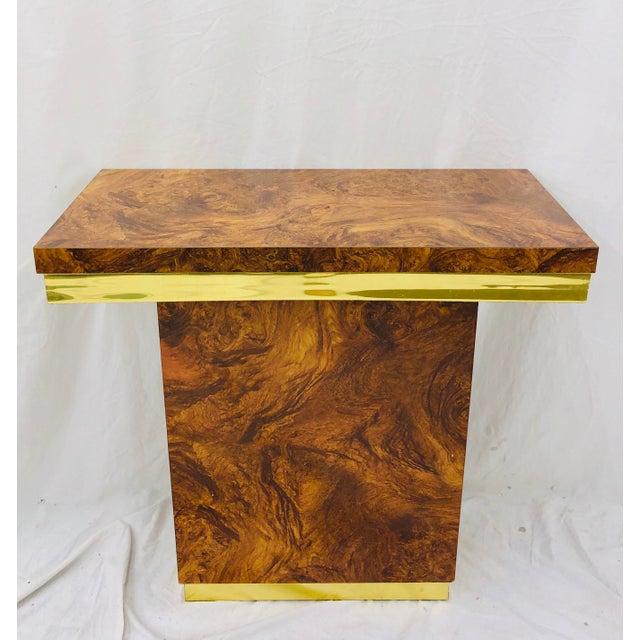 Vintage Modern Burl & Brass Table For Sale - Image 12 of 12