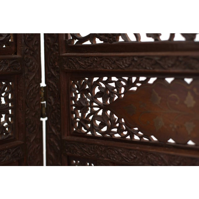 Metal Moorish Carved Teak 3-Fold Screen For Sale - Image 7 of 8