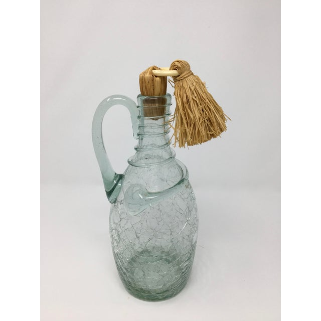 1960s Mid-Century Swedish Crackle Glass Bottle For Sale - Image 5 of 9