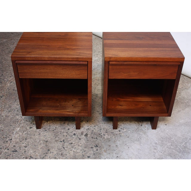 Walnut Pair of Vintage New England Solid Walnut Nightstands For Sale - Image 7 of 13