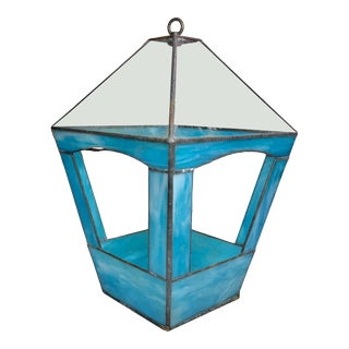 Antique Arts & Crafts Leaded Blue Stained Glass Outdoor Bird Feeder For Sale