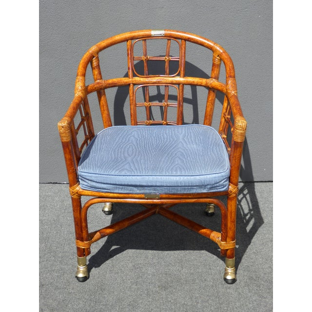 Mid-Century Modern Bamboo & Rattan Arm Chairs - 4 - Image 6 of 11