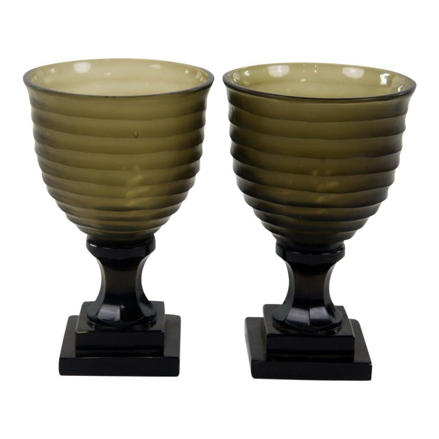 Art Deco Style Glass Water Goblets - A Pair For Sale