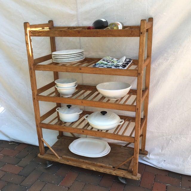 Brown Vintage Industrial Wooden Bakers Rack For Sale - Image 8 of 10
