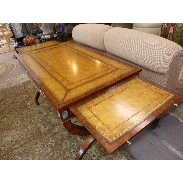 Maitland - Smith Maitland Smith Regency Style Leather Top Mahogany Writing Desk For Sale - Image 4 of 11