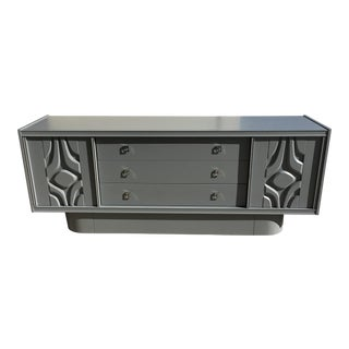 Mid-Century Lacquered Gray Credenza
