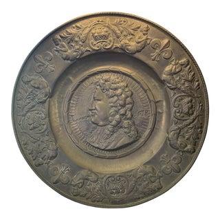 Brass Repousse Louis XIV Platter For Sale
