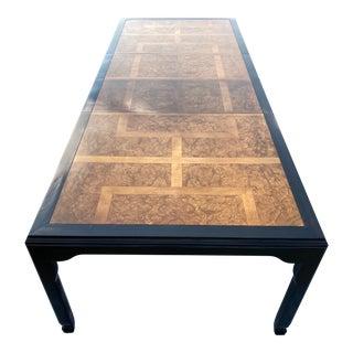 Mid-Century Modern Black Lacquer & Burlwood 10' Extendable Dining Table Raymond Sobota for Century For Sale