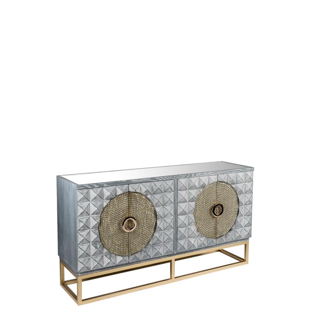Art Deco Zelda Studded Sideboard-Gray and Gold For Sale In Los Angeles - Image 6 of 7