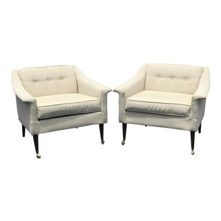 Mid-Century Cream Upholstered Club Chairs - a Pair