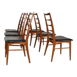 Walnut Set of 6 Koefoeds Hornslet Danish Modern Side Dining Chairs For Sale