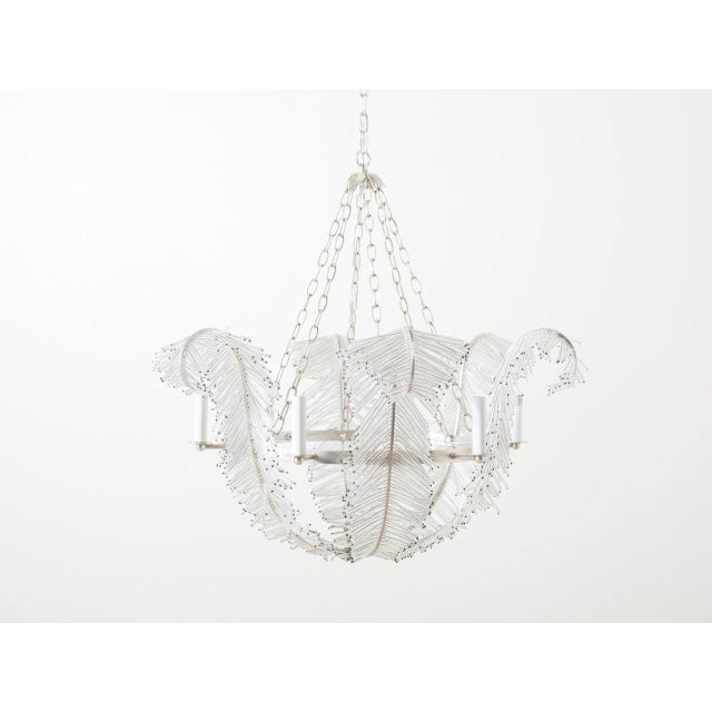 Fern frond chandelier. Made of glass beads and rods on a silver frame. Sockets: 6 - 60W Type C