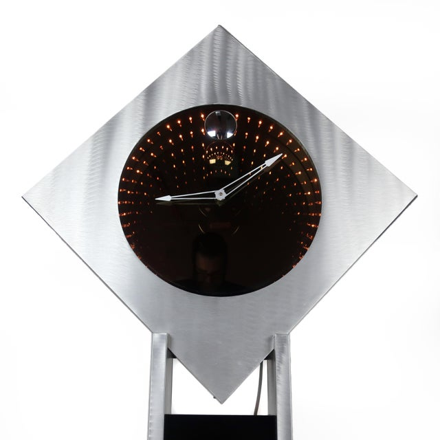 Brushed Aluminum Infinity Clock With Stand For Sale - Image 4 of 13