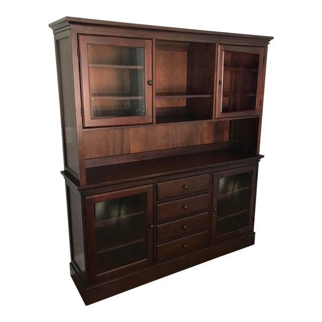 Pottery Barn Tucker Mahogany Wood Cabinet Buffet & Hutch For Sale