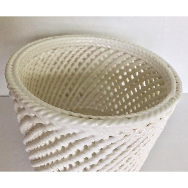 Mid 20th Century Vintage White Ceramic Lattice Flower Pot For Sale - Image 5 of 11