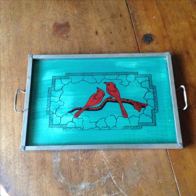 Vintage Glass-Top Painted Bird Tray - Image 2 of 11