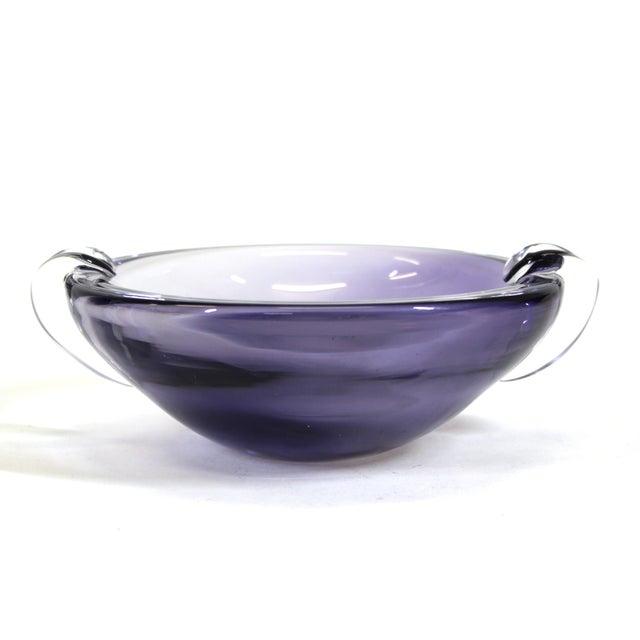 Kristaluxus Mid-Century Modern glass bowl with handles, marked 'Kristaluxus' on the bottom.