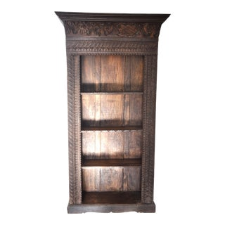 Hand-Carved Reclaimed Wood Open Bookcase For Sale