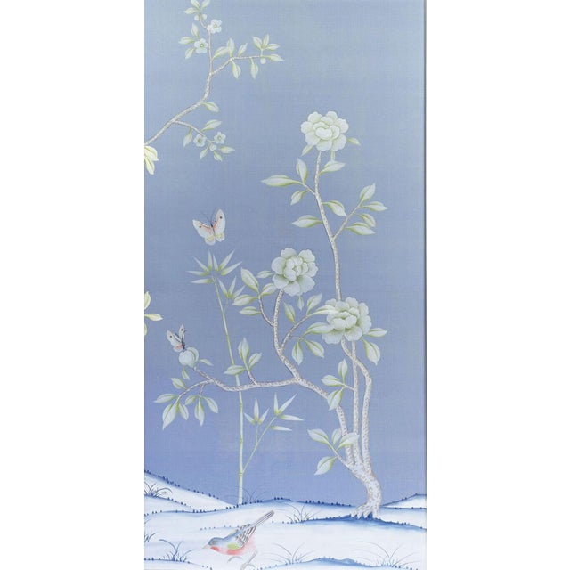 "Asian ""Furness"" Chinoiserie Hand-Painted Silk Diptych by Simon Paul Scott for Jardins en Fleur - Set of 2 For Sale - Image 3 of 5"