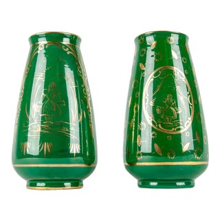 Vintage Pair Italian Porcelian Decorative Vases For Sale