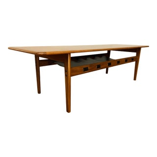 Mid-Century Modern Teak Coffee Table With Leather Storage Shelf For Sale