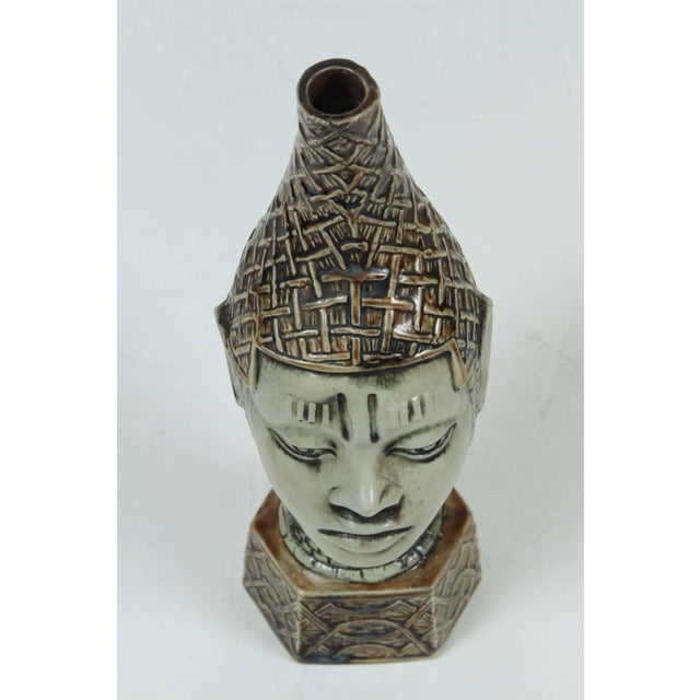 Gray African Benin Queen Mother Commemorative Ceramic Head by the Edo People For Sale - Image 8 of 10