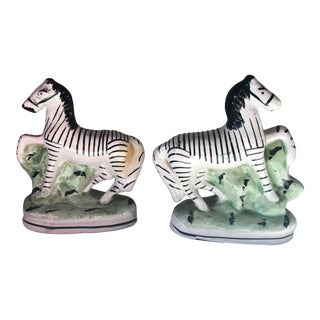 Antique English Staffordshire Zebra Figurines - a Pair For Sale