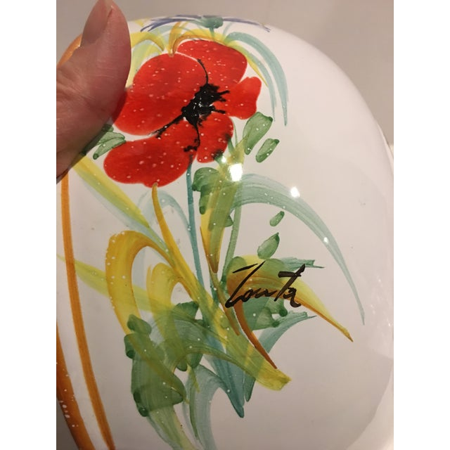 White Italian Hand Painted Pasta Bowl & Colander - a Pair For Sale - Image 8 of 9