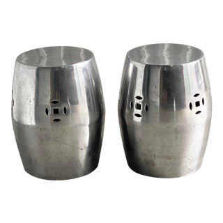 Vintage Stainless Steel Garden Stools - a Pair For Sale