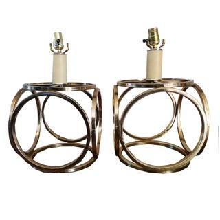 Vintage Gold Art Deco Lamps - A Pair