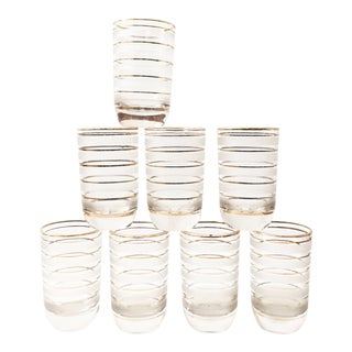 Mid Century Gold Striped Tumblers / Set of 8