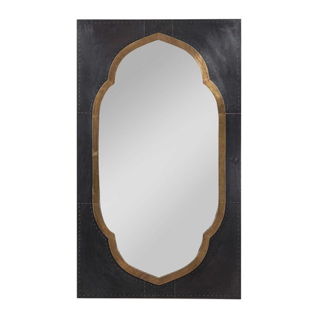 Moroccan Stained Copper and Brass Clad Mirror For Sale - Image 4 of 6