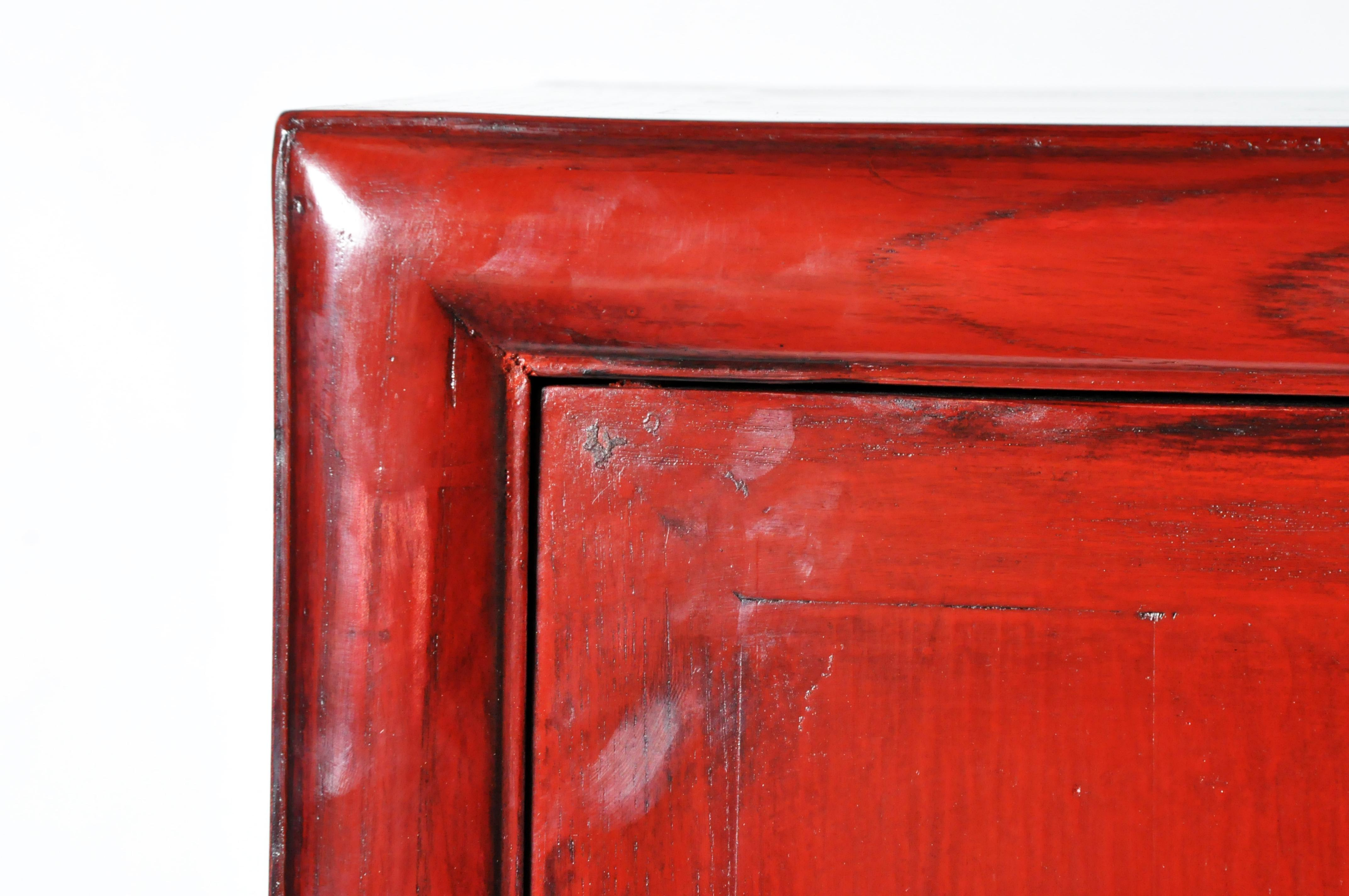 Chinese Red Lacquered Display Cabinet With Restoration For Sale In Chicago    Image 6 Of