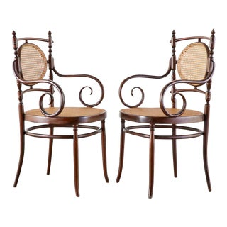 Pair of Salvatore Leone for Thonet Bentwood Cane Armchairs For Sale