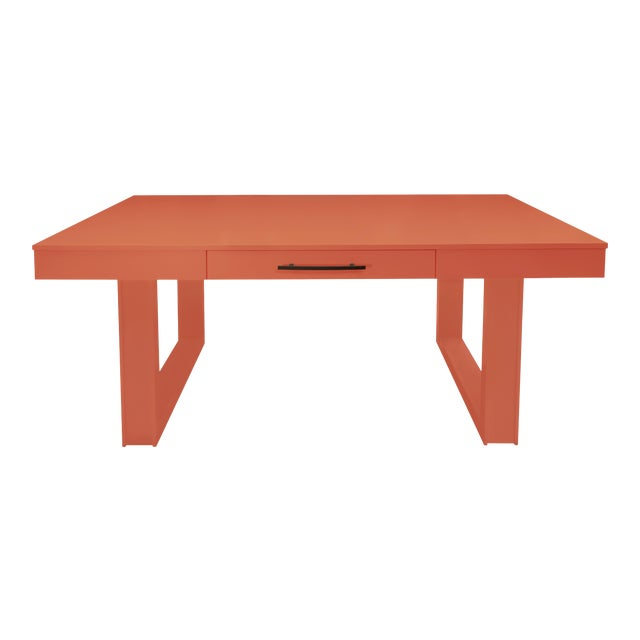 Mid-Century Modern Luxury Desk for Home Office From Garden Street in Coral For Sale