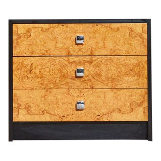 1970s Burl and Black Laminate Chest of Drawers For Sale